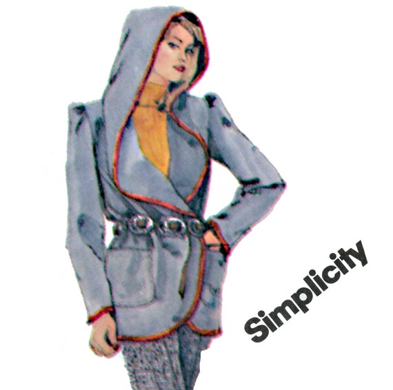 1980's Wrap Jacket Pattern Simplicity 5650 Misses Hooded