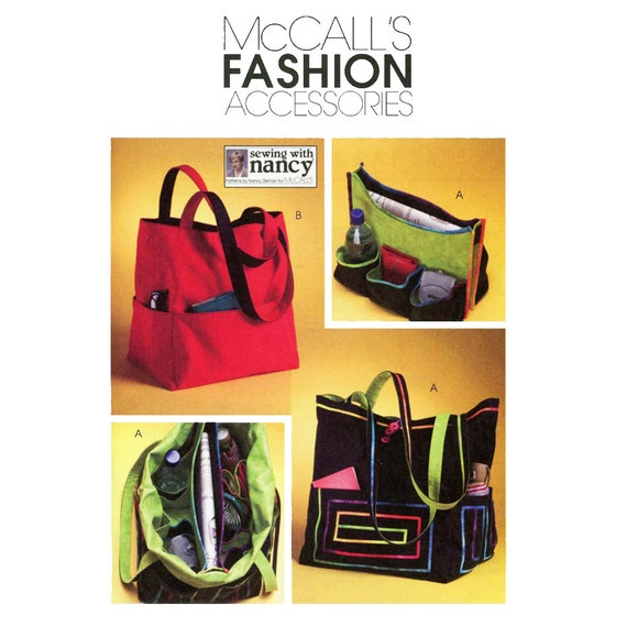 McCalls M4851 Tote Bag Pattern McCalls M4851 Sewing With Nancy Pocket Tote with Removable Organizer Fashion Accessories Sewing Pattern UNCUT