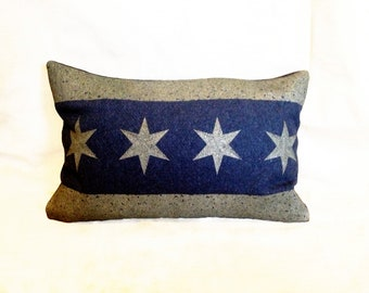 Chicago Flag Pillow Cover from Military Blanket - Navy Blue