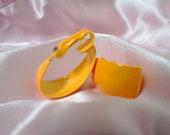 1960s Mod Yellow Enamel Vintage Clip Earrings