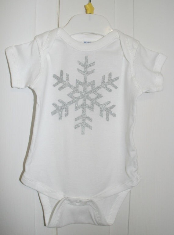 Snowflake Bodysuit in White with Silver Sparke Snowflake SHORT SLEEVE