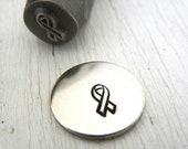 Metal Design Stamp - SALE - 6mm Awareness Ribbon Metal Design Stamp - Hand Stamping Supply