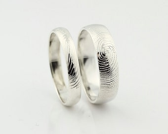 Custom Fingerprint Ring set - Sterling Silver Custom Wedding or Commitment Band -non blackened
