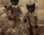 Black Cat Art, Victorian Brothers, Twin Art, Anthropomorphic, Mixed Media Collage, 8x10 Print, Cats in Clothes Art