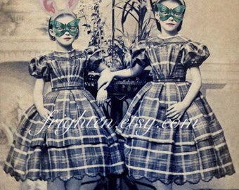 Victorian Girls Art, 8.5 x 11 Inch Print, Mixed Media Collage, Unusual Art Print, Girls in Rabbit Ears, Buttefly Masks, Girlie Decor