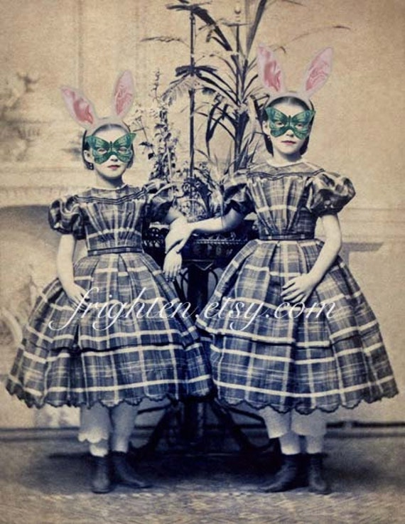 Sister Art Print, Mixed Media Collage, Victorian Sisters, Altered Portrait, Bunny Ears, Mask Art Print
