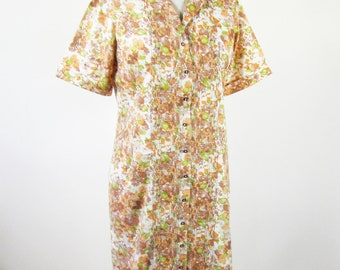 1960s Floral Housedress Pintuck Orange Brown Green Size Medium Large