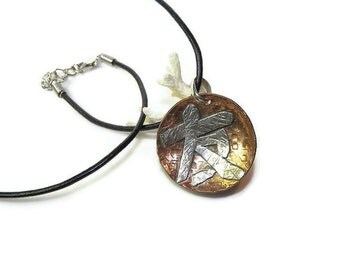 Calligraphy Pendant in Silver and Copper- Unisex, Friendship P108