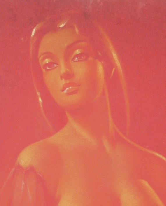 RESERVED--Mature--Original Nude Polynesian Girl / Island Girl  Painting Oil on Red Velvet