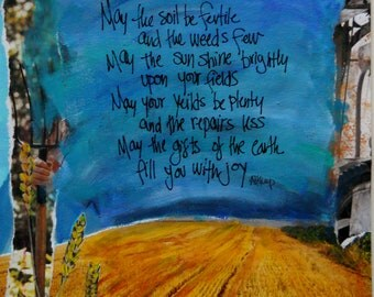 FARMERS BLESSING, Farmer Gift, Inspirational Gift, Farm Art, Farm Prayer, Wall Art , Farm Quote, Mixed Media by  Seattle Artist Mary Klump