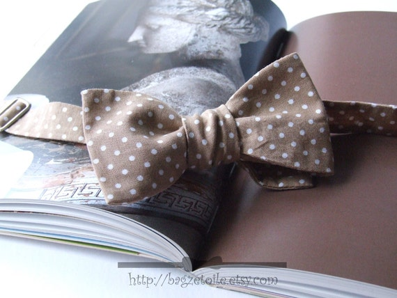 Bow Tie, polka dot, cappuccino and white, freestyle, classic bowtie, for him