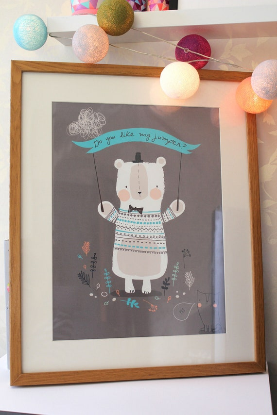Big Bear Nursery Childrens Print Size A3 By Nikkipea On Etsy