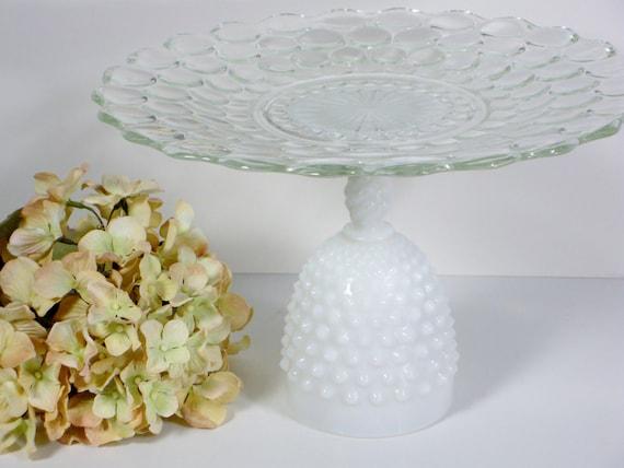 Vintage cake stand cupcake stand dessert pedestal stand decorative glass plate hobnail milk glass wedding decor