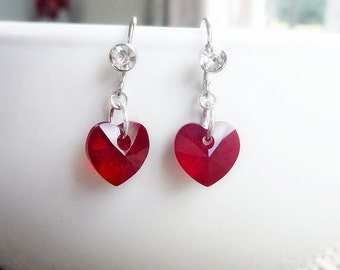 Red hearts Earrings with Zircon in Platinum Silver - Swarovski Crystal cuties