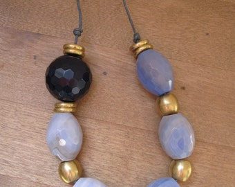 Long modern necklace - blue agate and brass asymmetrical necklace