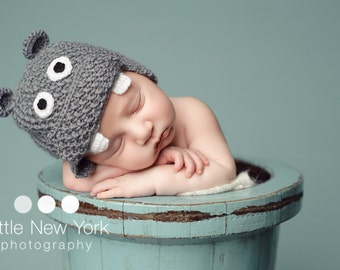 Newborn photo prop, hippo newborn/ baby hat, photography props, newborn boy, newborn girl, newborn hat, knit newborn hat, newborn props