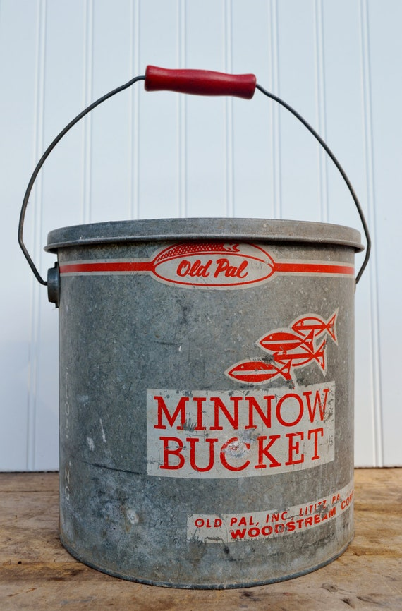 Old Pal Minnow Bucket Galvanized Metal Floating Fishing 10 Ten Quart Red White