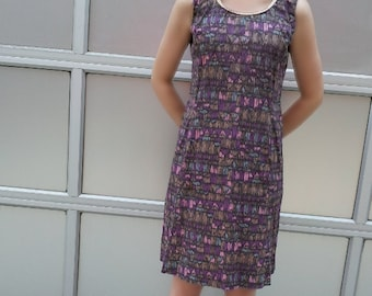 1960s Geometric Novelty Print Shift Dress 60s Vintage Mod Purple Black Pink Mid Century Modern Medium Cotton Abstract Art Sheath Dress 1950s