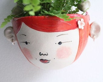 Ceramic mini hanging planter-Wren- Bright orange tangerine hair miniature plant pot