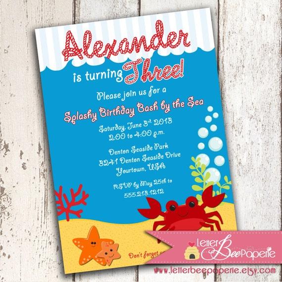 Items similar to Happy Crab Crabby Beach Theme Custom Birthday – Ocean Party Invitations