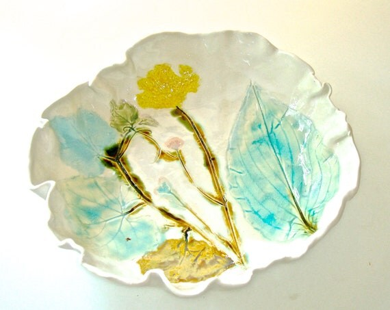 RESERVED FOR ANNE Ceramic Serving Bowl Queen Annes Lace and hosta design