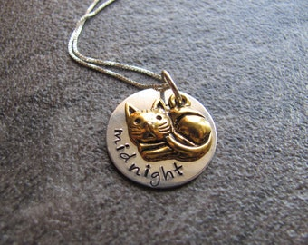 Personalized Cat Necklace: Hand Stamped Sterling Silver Pet Necklace