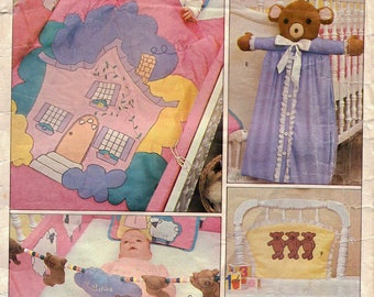 70s Baby Nursery Decor Quilt, Pillow, Bumper Pads, Kickers, Door Sign, Diaper Stacker, High Chair Cover & Transfer Vogue Craft Pattern 2535