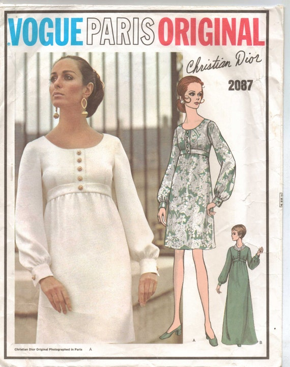 60s Vogue Paris Pattern 2087 Christian Dior Womens MOD Empire Waist Dress Size 10 Bust 32 Label Included