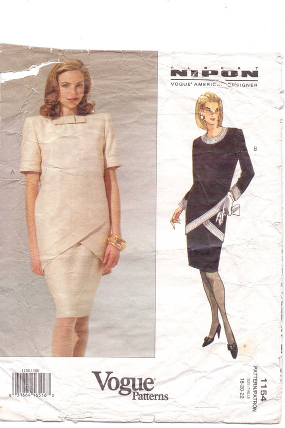 90s Vogue American Designer Pattern 1154 Albert Nipon Womens Tunic Dress Size 18 20 Bust 40 to 42