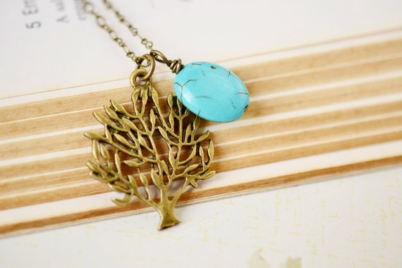 Tree Necklace, Tree Pendant, Tree of Life, Antique Brass Gold, Tree Branches, Turquoise Pendant, Nature, Vintage Inspired, Autumn Fashion