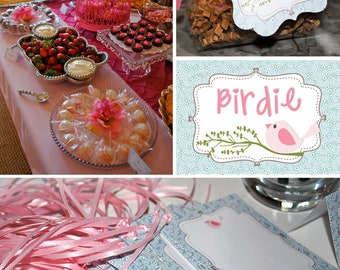 DIY printable baby shower or birthday party package - cute birdie