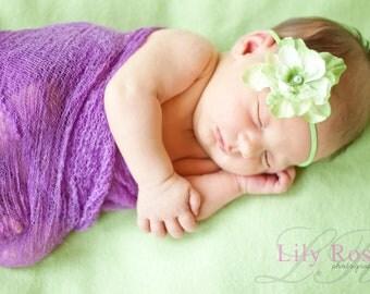 Delphinium Vintage Moss Light Green Skinny Baby Headband. Pearl Flower headband Baby girl headbands. Photography prop Elastic