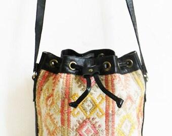 Vintage KILIM BAG Tribal Woven Kilim and Leather Drawstring Bag