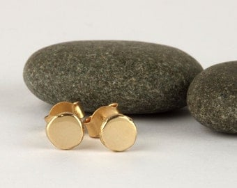 14k gold stud earrings, simple solid gold earrings, small dot earrings