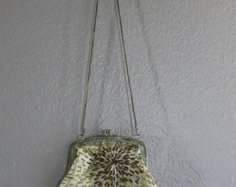 gold handmade vintage purse with beaded sunburst design