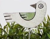 bird garden art - plant stake - garden marker - garden decor - bird ornament - ceramic bird - white & green