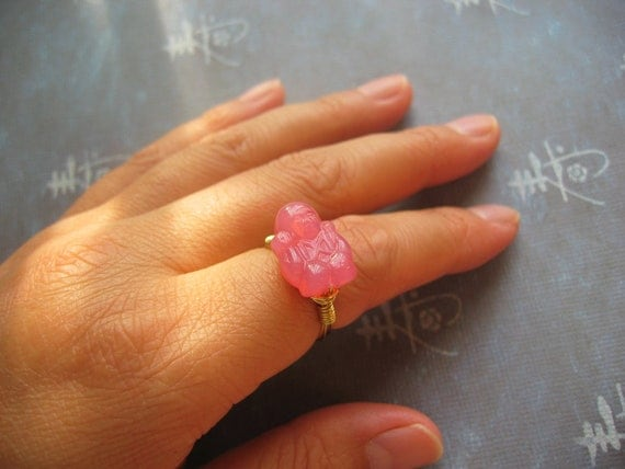 Pink Buddha Wire Wrapped Ring in Brass - Made to order