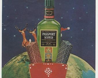 1976 Advertisement Passport Scotch Christmas Santa Sleigh Reindeer Flying Over Earth Christmas Bar Pub Wall Art Decor