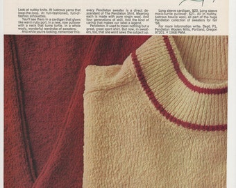 1968 Advertisement Pendleton Sweaters Men's Quality Style Fashion Wool 60s Knitter Craft Sewing Room Wall Art Decor