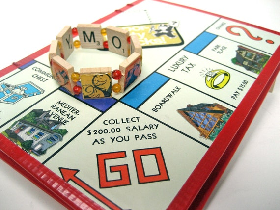 Monopoly Lovers Gift Set: Blank Book Upcycled from Vintage Game Board, Scrabble Tile Bracelet Featuring Yellow and Orange Monopoly Man