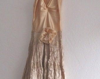 Romantic Gold Gypsy Slip Dress Mori Girls Bohemian #Ethical Fashion  #KheGreen