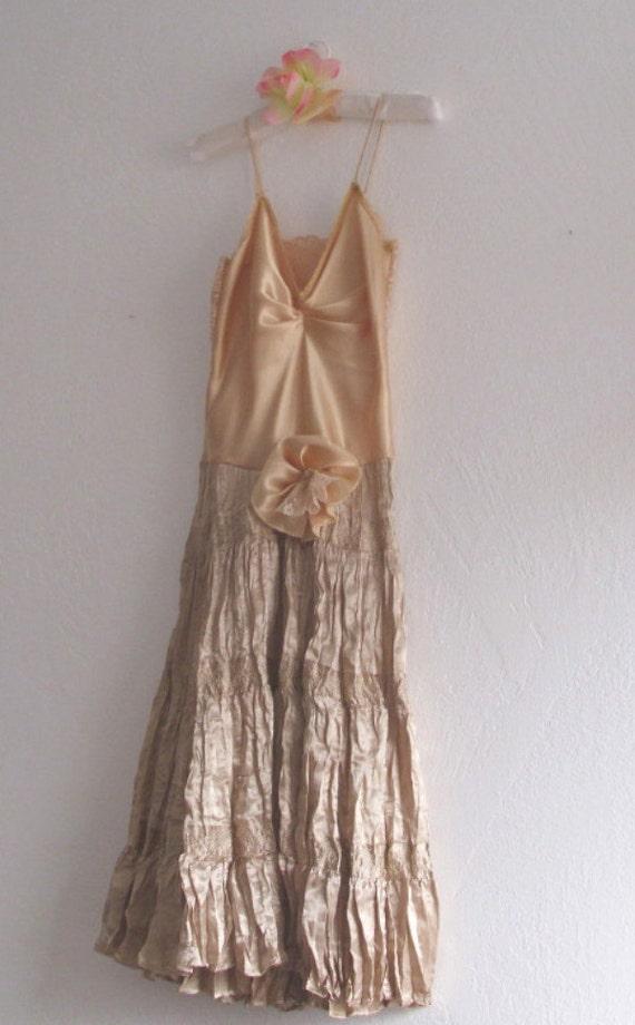 Romantic Gypsy Slip Dress Mori Girls Bohemian Gold Satin