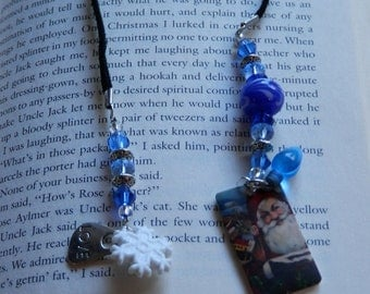 Blue Sparkle Santa Shrink Charm BookMark