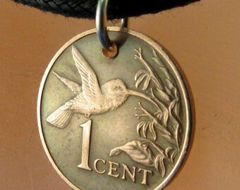 coin jewelry -  HUMMINGBIRD coin -  trinidad coin NECKLACE -  bird coin  tobago - copper - choose year  No.001188