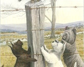 Scottish West Highland Sky Terrier Cat 1910s Louis Agassiz Fuertes Dog Print Antique Original