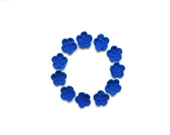 Crochet Flower Applique, Bright Blue, Set of 10