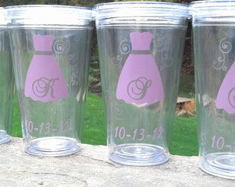 1 Tumbler for Bride and Bridesmaids, Wedding party acrylic glasses with lid and straw, flower girl plastic cups, Bridesmaid gift. BPA Free
