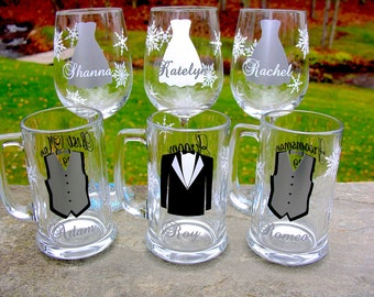 6 Bridesmaids and Groomsmen snowflake glasses, gift glasses for winter wedding, Silver and white dress and tux vest.