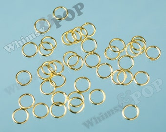 150 -  Golden Jumprings Jump Rings, Gold Jump Rings, Gold Tone Jump Ring, Closed / Unsoldered, 9mm (R5-239)