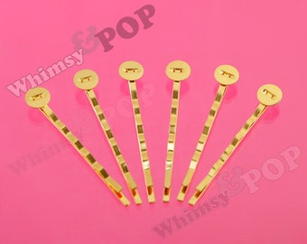 100 - Gold Colored Bobby Pins, 52mm wide, 8mm Glue Pad (R2-159,C1-14)